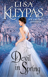 Devil In Spring book cover written by Lisa Kleypas, woman in white ball gown