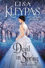 Devil In Spring book cover with woman in white dress against a pink and blue snowy background
