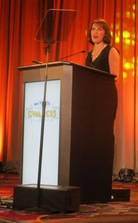 Lisa emceeing the RWA 2015 Awards
