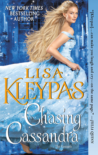 Chasing Cassandra by Lisa Kleypas -book cover - blond woman running in pale blue evening gown