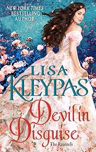 Cover of Devil In Disguise by Lisa Kleypas showing dark haired woman in long flowered dress looking over her shoulder.