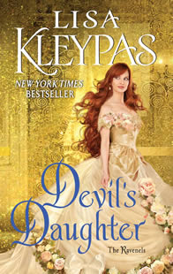 Devil's Daughter cover with red-haired woman in a pale gold ball gown